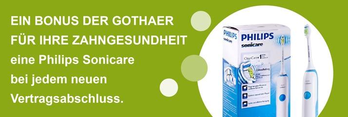Ein Bonus der Gothaer Zahnzusatzversicherung: Eine Philips Sonicare bei jedem neuen Vertragsabschluss.
